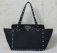 Wholesale Genuine Gems Beads - high quality~ w332 s l genuine leather gem stud tote shopping bag black