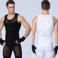 Wholesale Tank Body Shapers - New Arrival Sexy Men's slimming Underwears body shaper fitness Vests sculpting Powernet Strong mesh Zipper Shapers Tank tops Drop Shipping