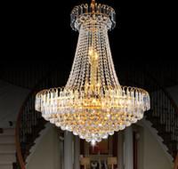 neue kronleuchter großhandel-Fabrik Preis !!! Preiswertes neues königliches Reich-goldenes Kristallleuchter-Licht-französische Kristalldecken-hängende Lichter DHL schnelles Verschiffen