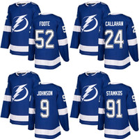 Wholesale New 52 - Cheap 2018 2017 New Brand Adult Lightning 91 Steven Stamkos 24 Ryan Callahan 9 Tyler Johnson 52 Cal Foote Blue Custom Hockey Jerseys