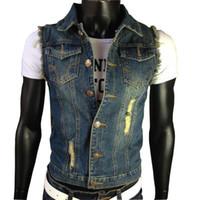 coletes jeans mens venda por atacado-Queda-XXXXXXL Rasgado Jean Jaqueta Mens Jeans Colete Jeans Colete Cowboy Da Marca Sem Mangas Jaqueta Masculina Regatas em Coletes Masculinos Outwear