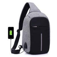 Wholesale Wholesale Plain Notebook - Anti-theft Laptop Notebook Backpack With USB Charging Port Nylon big children women men one-Shoulder bag Business Chest pack 3 colors C2911