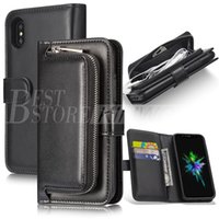 Wholesale Iphone Wallet Case Zipper - High Quality PU Leather Luxury Wallet Case For iPhone X 8 8plus 7 6 6s plus Samsung Note8 S8 Card Slot Zipper Cases