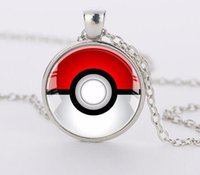 Wholesale Toy Men Black Glasses - Pocket Monsters Glass Cabochon Necklace Japanese Anime Time Gemstone Necklaces Fashion Jewelry for Women Men Kids Toy-B36