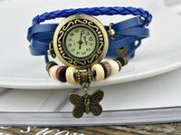 Wholesale Leather Vintage Watch Wholesale - 2016 Vintage Multilayer butterfly Pendant Watch charm Weave Wrap Quartz Leather Wrist Watch Many Colors Casual Watch