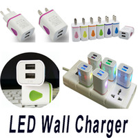 Wholesale Travel Power Adapter Usb Tablet - LED Wall Charger Dual USB 2 Ports Light Up Water-drop Home Travel Power Adapter 5V 3.1A AC US EU Plug For Samsung LG HTC Tablet Mobile Phone