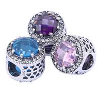 piedras preciosas cuentas europeas al por mayor-Sterling Silver Pandora Style Charm Bolas de piedras preciosas facetadas de lujo Hallow Out Heart European Beads