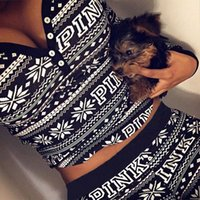 Wholesale V Neck Running Shirts - Love Pink Letters Print Women Tracksuits 2017 Autumn Winter Two Piece Set Casual Costumes Long Sleeve Hoodies Shirt Pants Christmas Gifts