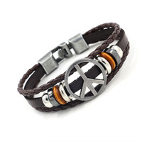 Wholesale Beaded Flags - Retro Alloy Peace Sign Cowhide Bracelets for Men Punk Leather Bracelet Beaded Charm Bracelets Fashion Jewelry Hand Accessories