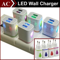 Wholesale Chinese Led Wall Lights - Light Up Water-drop LED Dual USB Ports Home Travel Power Adapter 5V 2.1A + 1A AC US EU Plug Wall Charger For iPhone Samsung HTC LG Tablet