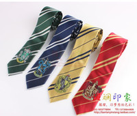 Wholesale Necktie Red Stripes - Free Shipping Hogwarts School Harry potter tie gryffindor Slytherin Ravenclaw Hufflepuff badge ties necktie Neckwear Costume Accessory Tie