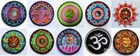 Wholesale kinds of yoga lotus retro hippie applique iron on patch iron on applique motif garment embroidery Biker DIY
