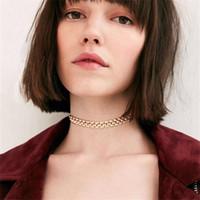collares de estilo americano al por mayor-2017 nuevo collar de moda europeo y americano estilo minimalista collar de metal collar femenino venta al por mayor envío gratis