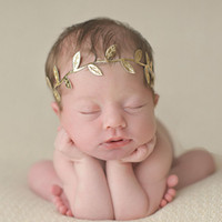 Wholesale Metallic Claws - Baby golden and silver leaves Headbands hair band kids sweet lovely Hair bows Headdress hair band Headwrap Children Hair Accessories
