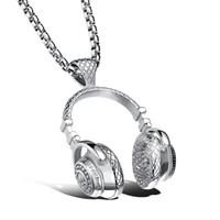Wholesale Headphones Face - Headset Design Pendant Men Necklace Hip-Pop&Puck Style Box Link Chain 316L Steel Music Carnival Headphones Jewelry GX1100