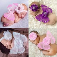 Wholesale photo butterflies - Newborns Baby photo photography props costumes 10styles 2pc set baby flower headband mini butterfly wings 18*14cm