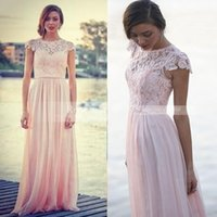 Wholesale Discount Floor Length Dresses - Pink Jewel A Line Lace Full Length Long Bridesmaid Dress Short Sleeves Chiffon Discount Spring Summer Beach Bridesmaids Formal Gowns 2016