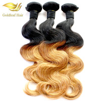 Wholesale two toned remy human hair weave online - 3Pcs Ombre Human Hair Weaving Two Tone Color Hair Body Wave Hair Extensions Peruvian Virgin Human Hair