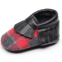 Wholesale genuine leather baby moccasins online - New customs tassel First Walkers Genuine Leather buffalo plaid Baby moccasins Soft sole Baby boys and Girls Infant Shoes