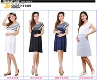 Wholesale Navy Striped Long Sleeve Dress - Long Maternity Dresses for Pregnant Women Loose Clothing Maternity Fashion Stripe Home Cotton Mother Clothes Navy Blue Summer Vintage
