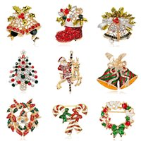 Wholesale Jingle Bell Brooch Pin - 2016 New Fashion Rhinestones Brooches as gift Christmas Tree Christmas Boots Jingling Bell Santa Claus Brooches Pins for Women Kids Jewelry