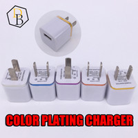 Wholesale Wall Plates Cheap - Quality Charger Color Plating Edge Single USB Home Charger 2pin Charging USA wall adapter 5V 1A Cheap Price Charging Plug for Iphone 7