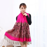 Wholesale Tribal Tassels Wholesale - Women Lady Fringed Tassel Scarf Jacquard Thick Ethnic Tribal Bohemian Wrap Shawl Poncho Long Warm Shawl