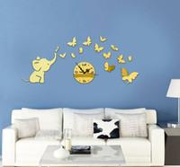 fil 3d çıkartmaları toptan satış-3D kelebek ayna duvar saati DIY çıkartmalar fil karikatür duvar çocuk odası duvar