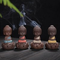 Wholesale japanese teas online - Buddha Incense Burner Creative Ceramic Purple Sand Little Monk Incensory Tea Table Decoration Articles Thurible Craft Gift cy C R