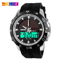 50M Etanche Montres solaires Outdoor militaires Hommes Sports Montres Solar Power LED Digital Quartz Dual Time Men Casual Montre