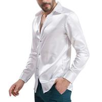 camisa do cetim dos homens venda por atacado-Atacado-New Arrival Custom Made Qualquer Cores Elastic Silk como homens de cetim camisa de casamento do noivo camisas de desgaste noivo camisa Slik para homens