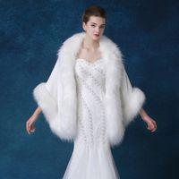 Wholesale Shoulder Shawl Party - Winter Wedding Fur Wrap Plus Size White Kant Bruiloft Bolero Wedding Shawl Wrap Evening Party Shoulder Shawl Bolero Mariage Top Quality 2018