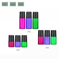 Wholesale purple essential oil bottle resale online - Colorfu ml ml ml Purple Green Red Glass Bottles Empty Roll on Glass Bottles for Essential Oil Bottle cc cc cc Sample Bottles