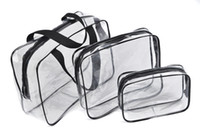 Wholesale Cheap Black Makeup Bag - Hot 3pcs set cheap price outdoor travel makeup cosmetic PVC wash bag 4 colors free shipping ELB035