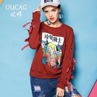 Wholesale Coats Border - The 2017 European cross-border supply station printing long sleeved button hollow thread coat sweater ribbon female students fashion