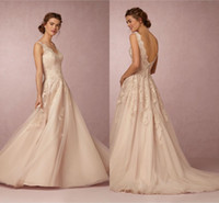 Wholesale Romantic Tulle Wedding Gown - 2017 Wedding Dresses BHLDN Romantic V-Neck Sleeveless A Line Champagne Lace Wedding Gowns For Beach Bridal Dress Custom Made