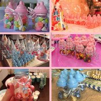 Wholesale Pink Candy Favors - FREE SHIPPING 600PCS Mix Pink Blue Baby Bottle Candy Boxes Baby Feeding Bottle Wedding Favors and Gifts Box Baby Shower Baptism Decoration