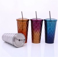 Wholesale special straw resale online - Stainless Steel Cold Cup Diamond Straw Bottle Tapered Special Shaped Mugs Styles Stainless Steel Thermos Coffee Cup