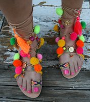 Wholesale Leather Lace Thong - 2016 leather pom pom strap sandals lace up gladiator flats thong sandals flip flops multi color stones boho shoes