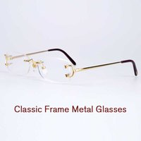 Wholesale Optical Glasses Womens - High quality eyeglasses rimless frame metal legs double screw fixed mirror mens prescription glasses womens optical frames with original box