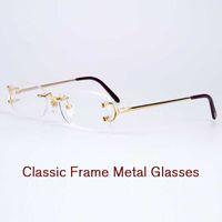Wholesale Fix Legs - High quality eyeglasses rimless frame metal legs double screw fixed mirror mens prescription glasses womens optical frames with original box