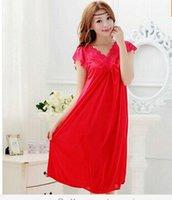 Wholesale Girl S Night - Wholesale-Free shipping women red lace sexy nightdress girls plus size Large size Sleepwear nightgown night dress skirt Y02-4