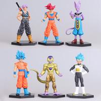 Wholesale Dragonball Z Trunks - 6Pcs  Lot Figurines Dragon Ball Z Action Figures Dragonball Super Trunks Goku Blue Super Saiyan God Vegeta Beerus Frieza Toys