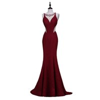 Wholesale Evening Purple Memaid Dress - Newest Finove Wine Red Long Elegant Memaid Evening Dresses 2016 Sexy Party Vestidos De Festa Beads Black Prom Dresses quinceanera dress