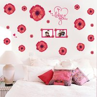 60 * 90cm Adesivos de parede DIY Art Decal Removeable Papel de parede autocolante Mural para sala de estar quarto SK9047 Big Red Flowers Photo Frame