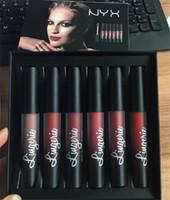 Wholesale nyx lip lingerie sets for sale - 2017 New Arrival NYX Lingerie Liquid Matte Lipstick set Luxury Velvet Matte Nude Lip Gloss