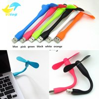 Wholesale Using Fan Laptop - Mini Cute Portable Flexible USB Fan Bendable removable USB Gadgets Low power for Powerbank for PC for laptop with opp bag