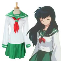 Wholesale Higurashi Kagome Costume - Wholesale-Anime Inuyasha Higurashi Kagome Cosplay Costumes Girls School Uniform Whole Set ( Top + Skirt + Scarf ) Women Sailor Suits