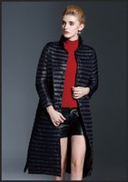 Wholesale Ladies Grey Down Winter Coat - Winter women clothes down jacket suit jacket long coats light stand collar button warm lady outwear for wholesale