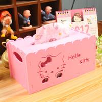 ingrosso scatola di legno moderna-Wholesale-Hello Kitty Cartoon Animation Caso di carta per tessuti Home Decor Asciugamano di legno Scatola di carta Home / Car Napkin Papers Bag Holder Box B41